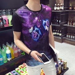 Besto - Galaxy Rose Print Short Sleeve T-Shirt