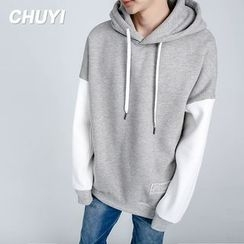 Chuoku - Lettering Two Tone Hoodie