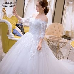 MSSBridal - Off Shoulder 3/4 Sleeve Wedding Ball Gown with Train