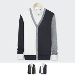 DANGOON - V-Neck Buttoned Color-Block Cardigan