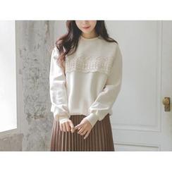 JUSTONE - Lace-Trim Brushed-Fleece Lined Sweatshirt