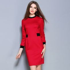 Cherry Dress - 3/4-Sleeve Tipped Sheath Dress