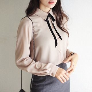 Jolly Club - Long-Sleeved Tie-Neck Blouse