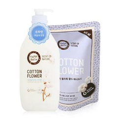 HAPPY BATH - Cotton Flower Set: Body Wash 500ml + Refill 250ml