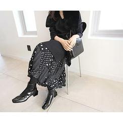 MARSHMALLOW - Banded-Waist Polka Dot Maxi Skirt