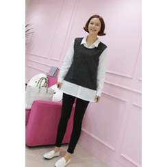 Lemite - Inset Shirt Knit Top