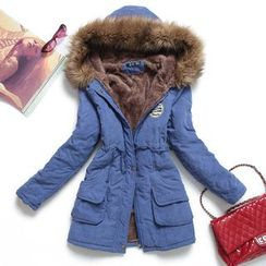 Heybabe - Furry Trim Hooded Fleece Lined Parka