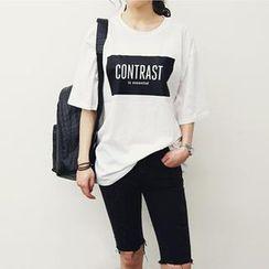 NANING9 - Drop-Shoulder Lettering T-Shirt