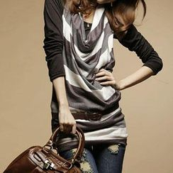 Rocho - Long Sleeved Striped Cowl Neck Top