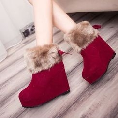 YIVIS - Fluffy Wedge Snow Boots