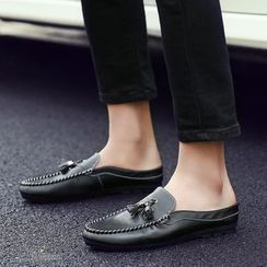 Preppy Boys - Backless Tasseled Loafers