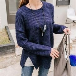 JOAMOM - Drop-Shoulder Slit-Side Knit Top