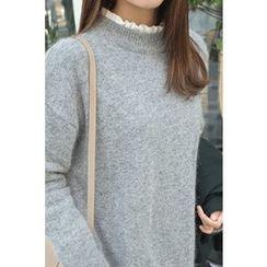CHERRYKOKO - Dip-Back Long Furry-Knit Top