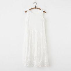 moripick - Lace Overlay Tank Dress