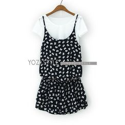 YOZI - Set: Short-Sleeved Crop Top + Printed Playsuit