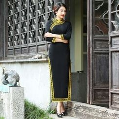 Miss Four Qipao - 3/4-Sleeve Patterned Cheongsam