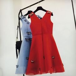Cotton Candy - Butterfly Applique Sleeveless A-Line Dress