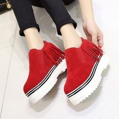 Micha - Fringed Hidden Wedge Slip-Ons