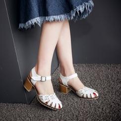 Pretty in Boots - Laser Cut Block Heel Sandals