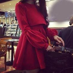 Bloombloom - Plain Long Sleeve Mini Dress