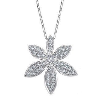 MaBelle - 18K White Gold Diamond Floral Pendant with Chain