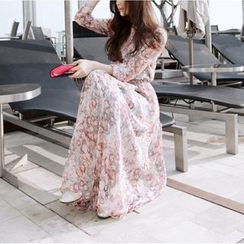 Cotton Candy - Floral Print Long-Sleeve Maxi Chiffon Dress