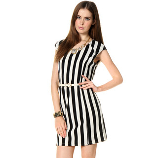 59 Seconds - Striped Tank Dress (Belt not Included)