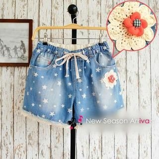 JVL - Lace-Trim Star-Print Denim Shorts