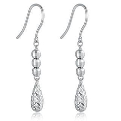 MaBelle - 14K/585 White Gold Teardrop Dangle Earrings