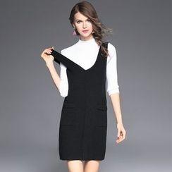 Ozipan - Set: Plain Top + Knit Jumper Dress