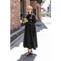PPGIRL - Lettering A-Line Loose-Fit Dress