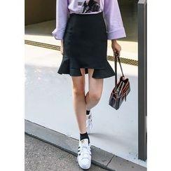 J-ANN - Zip-Back Ruffled-Hem Skirt