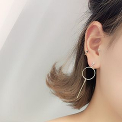 Show Mind - Ring Asymmetric Drop Earrings