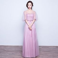 Bridal Workshop - 3/4-Sleeve Sheer Panel Evening Gown