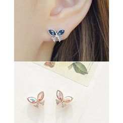 soo n soo - Rhinestone Butterfly Earrings