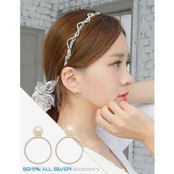 soo n soo - Faux-Pearl Silver Stud Earrings