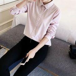 Tangi - Lace Trim Plain Shirt