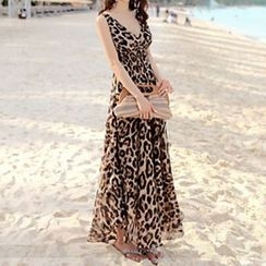 Jolly Club - Leopard-Printed Sleeveless Maxi Dress
