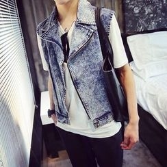 NAPO - Washed Denim Zip Vest