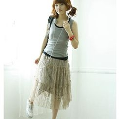 Dodostyle - Lace Trim Long Skirt