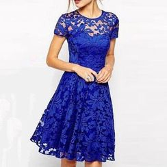 Jolly Club - Short-Sleeve Lace Party Dress