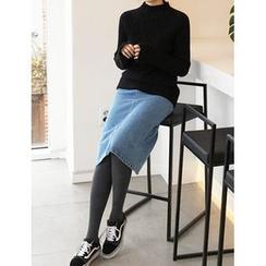 FROMBEGINNING - Washed Midi Denim Skirt