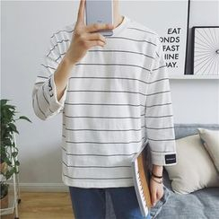 qiaqiayes - 3/4-Sleeve Striped Pullover