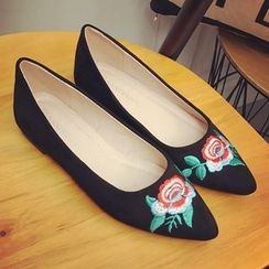 Super ME - Pointy-Toe Embroidered Flats