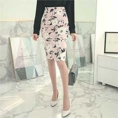 ode' - Floral Print Pencil Skirt
