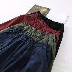 Ranche - Plain Band Waist Baggy Pants