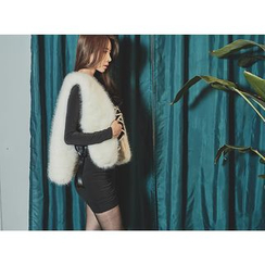 UUZONE - Faux-Fur Beribboned Vest