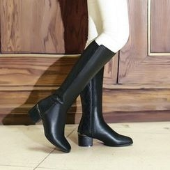 Pretty in Boots - Genuine Leather Block Heel Tall Boots