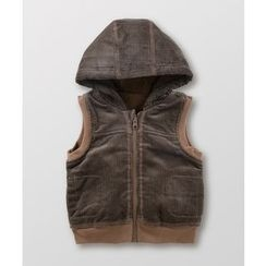 malimarihome - Kids Fleece-Lined Hooded Corduroy Vest
