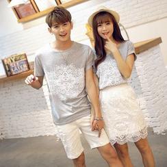 Azure - Couple Matching Print T-Shirt / Lace Panel Skirt
